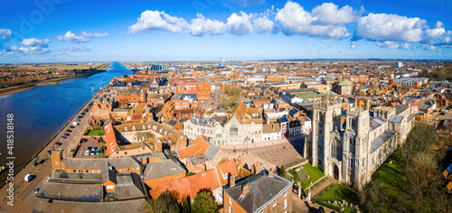 Canvas Print An aerial view of King's Lynn, a seaport and market town in Norfolk, England