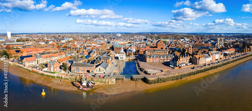 Stampa su Tela An aerial view of King's Lynn, a seaport and market town in Norfolk, England