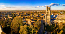The Aerial View Of The Cathedral Of Ely, A City In Cambridgeshire, England
