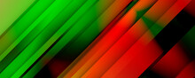 High Contrast Green And Red Background With 3d Overlap Layers