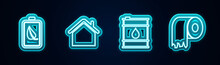 Set Line Eco Nature Leaf And Battery, House, Oil Barrel And Toilet Paper Roll. Glowing Neon Icon. Vector.
