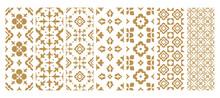 Set Arabic Oriental Ornamental Floral Geometric Arabesque Seamless Pattern. East Motif Pattern On White Background Vector Illustration
