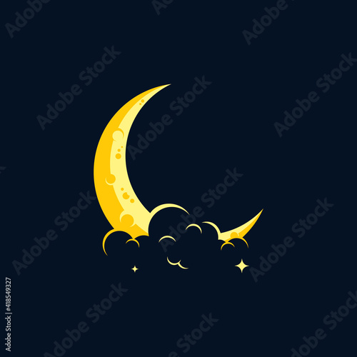 Fototapeta elegant crescent moon and star logo design