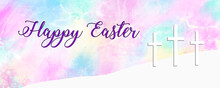 Happy Easter Watercolor Christian Cross Banner