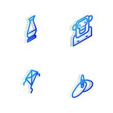 Set Isometric Line Monkey, Indian Vase, Kite And Headgear Turban Icon. Vector.