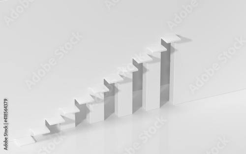 Fotografia Empty ascending stairs, white background, 3d rendering.