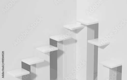 Tela Empty ascending stairs, white background, 3d rendering.