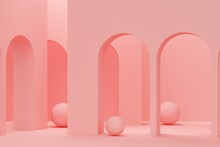 Coral Arches And Spheres. 3d Rendering