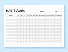 Habit Tracker. Daily Template Habit Diary For Month. Vector Illustration. Journal Planner With Bullets. Goal List On Dotted Background. Simple Design. Horizontal, Landscape Orientation. Paper Size A4.