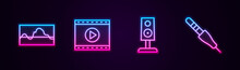 Set Line Music Wave Equalizer, Online Play Video, Stereo Speaker And Audio Jack. Glowing Neon Icon. Vector.