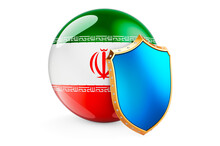 Iranian Flag With Shield. Protect Of Iran Concept, 3D Rendering