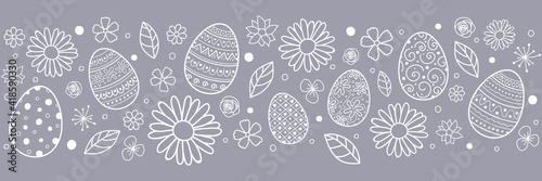 Obraz Easter banner with hand drawn eggs and flowers. Vector - fototapety do salonu