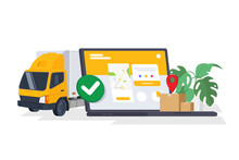 Success Delivery Vector Illustration. Laptop With Open Website App For Order Tracking With Map. Fast Respond Delivery Package Shipping On Mobile. E-store. Isolated On White Background