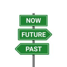 Future Past Present Board Icon. Now Pas And Future Way Destiny Sign