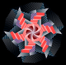 Fantasy Psychedelic Illustration. Ornament Of Stylized Stairs Twisting Into Spiral. Abstract Pattern Of Checkerboard Shapes Done In Kaleidoscopic Style. Printable Mandala On Black Background.