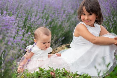 Fotografia, Obraz Family portrait in lavender field, two sisters together having fun