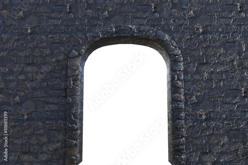 Canvas Print grey stone wall with arch isolated on white, 3d render.