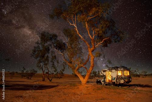 Camping at night in the Strzelecki desert , South Australia. Fototapeta