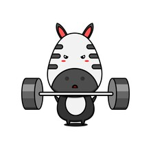 Character Design Of Zebra With A Barbell,cute Style For T Shirt, Sticker, Logo Element