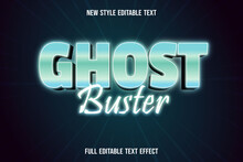 Editable Text Effect Ghost Buster Color Green And White