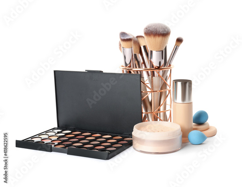 Obraz Set of makeup products and accessories on white background - fototapety do salonu