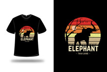 T-shirt Elephant Thailand Color Red Orange And Light Brown
