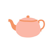 Pink Teapots Or Kettles Decorative Kitchen Tools, Household Utensils, Ceramic Drinkware Or Glassware For Tea Ceremony. Flat Cartoon Vector Icon Elements Illustration