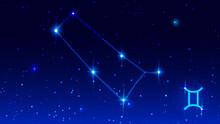 Constellation Twins In Night Starry Sky. Zodiac Sign Gemini Symbol