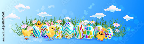 Canvas cute chicks with decorative eggs happy easter holiday celebration banner flyer o