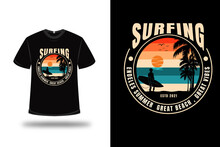 T-shirt Surfing Endless Summer Great Beach Great Vibes Color Green Cream And Orange