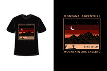 T-shirt Montana Adventure Mountain Are Calling Color Brown Red And Cream