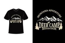 .t-shirt Montana Adventure Deer Camp Mountain Explore Color Cream