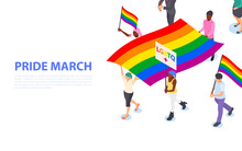 Pride March Banner. A Group Of Walking People With LGBTQ Flags And Posters In Their Hands. Defending Rights And Freedoms.