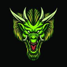 The Green Dragon Head Illustration