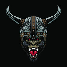 Viking Gorilla Helmet Vector Illustration