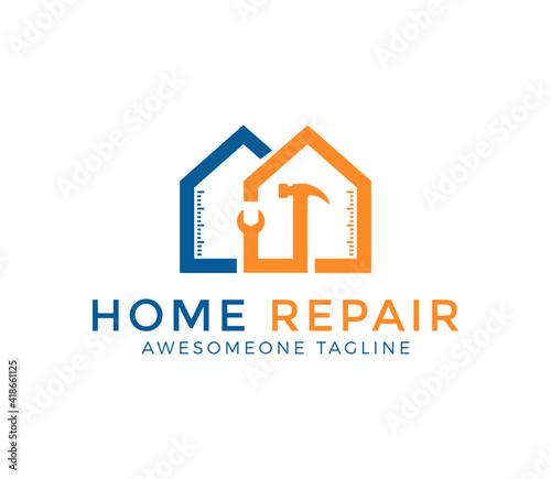 Obraz house repair logo design vector illustration - fototapety do salonu