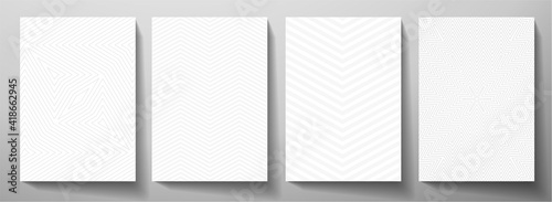 Fototapeta Modern blank background design set. Abstract creative line pattern (herringbone ornament) in monochrome light gray, white color. Graphic vector layout for notebook, business page template, presentatio obraz