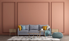 Mid Century Modern Interior Design Of Living Room And Orange Wall Pattern Background