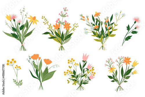 Photo Set of cute bouquets of meadow flowers isolated on white background