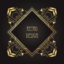 Art Deco Vintage Gold Patterns Over Black, Frames And Design Elements. Retro Party Geometric Background Set 1920s Style. Vector Illustration For Glamour Party, Thematic Wedding Or Textile Prints.
