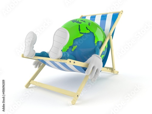 Canvas World globe character lying on deck chair