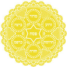 Jewish Golden And White Passover Holiday Plate. Vector Illustration With Hebrew Traditional Dish Naming Text Passover,egg, Shank Bone,charoset, Horse-radish, Parsley, Bitter Herbs