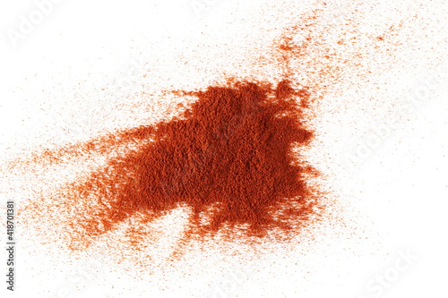 Fotografie, Obraz Pile of red paprika powder isolated on white background and texture, top view