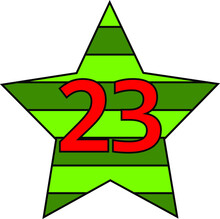 Festive February Star With Numbers 23 In Light Green And Dark Green Colors In Honor Of The Holiday Defender Of The Fatherland Day Or Victory Day Of The Red Army