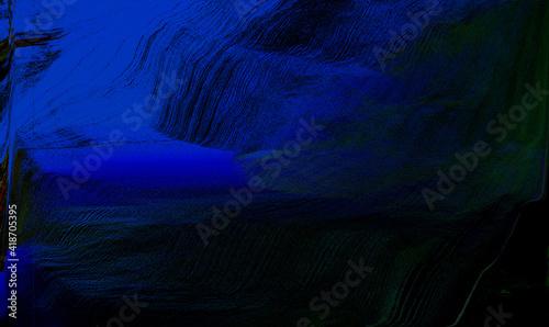 czarno niebieska abstrakcja w grafice