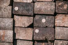 Heap Of Old Wooden Railway Sleepers, Railroad Tracks