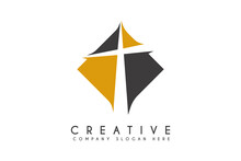 Cross CHURCH Logo Design Vector Illustration. Letter T Church Religion Logos