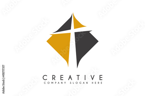 Fototapeta cross CHURCH logo design vector illustration