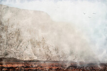 Seven Sisters Cliffs Near Brighton, United Kingdom. White Chalk Cliffs In The Fog On The English Channel Coast, South Downs National Park, South East England. Watercolor Illustration.