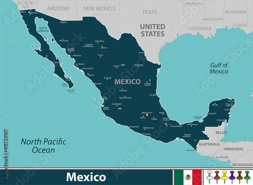 Obraz na plátně Map of Mexico